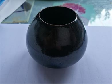磁州窑系黑釉鸡心罐