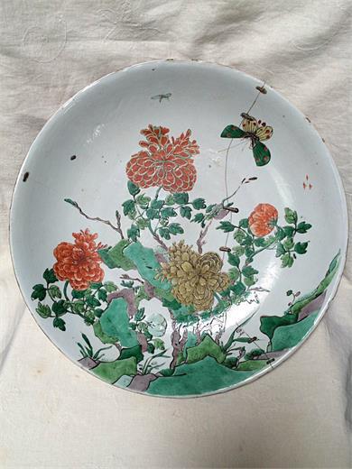 五彩花卉盘