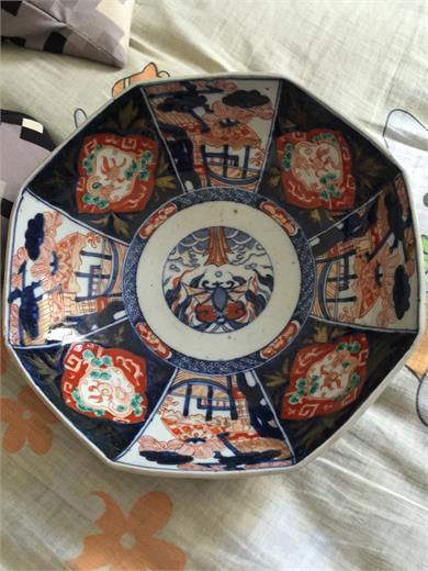 日本伊万里彩绘八方大碗