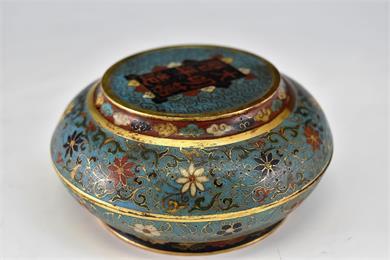 清晚  万历款铜鎏金掐丝珐琅菊花纹圆盒