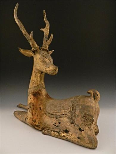 铜鎏金神鹿摆件