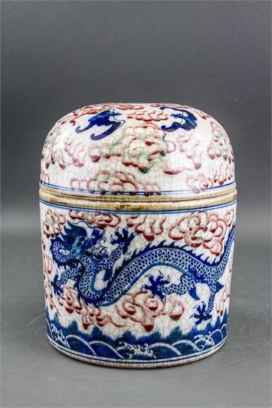 清代雍正青花釉里红云龙纹盖罐