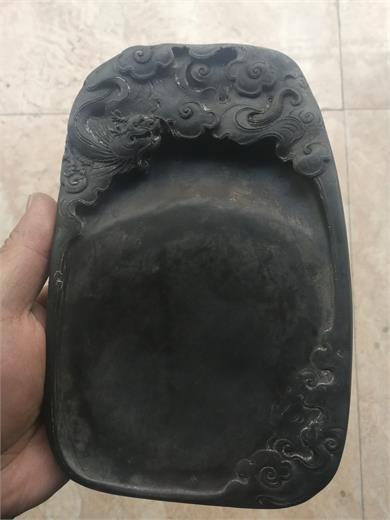 清代晚期端石刻云龙纹砚