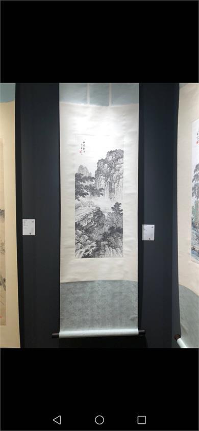 袁松年  1956年作 松峰观瀑 立轴 水墨纸本