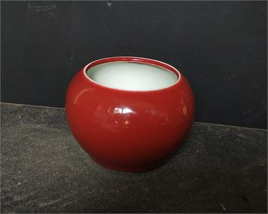 清末民初红釉水盂