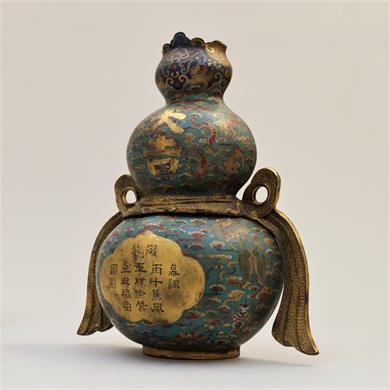 清乾隆 琺琅御製大吉葫蘆瓶