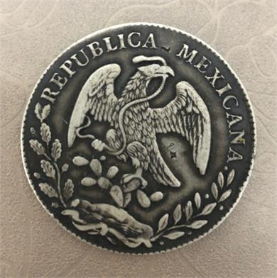 """墨西哥1873年版""""自由帽图""""鹰洋"""
