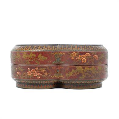 8字形彩漆镶八宝龙凤纹盖盒